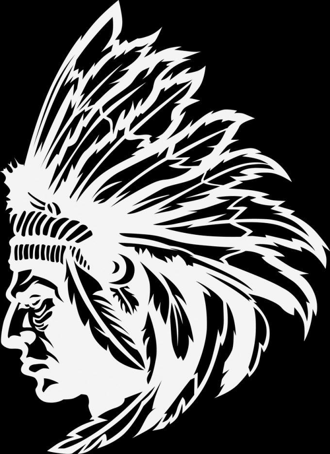 American Indian sketch black white