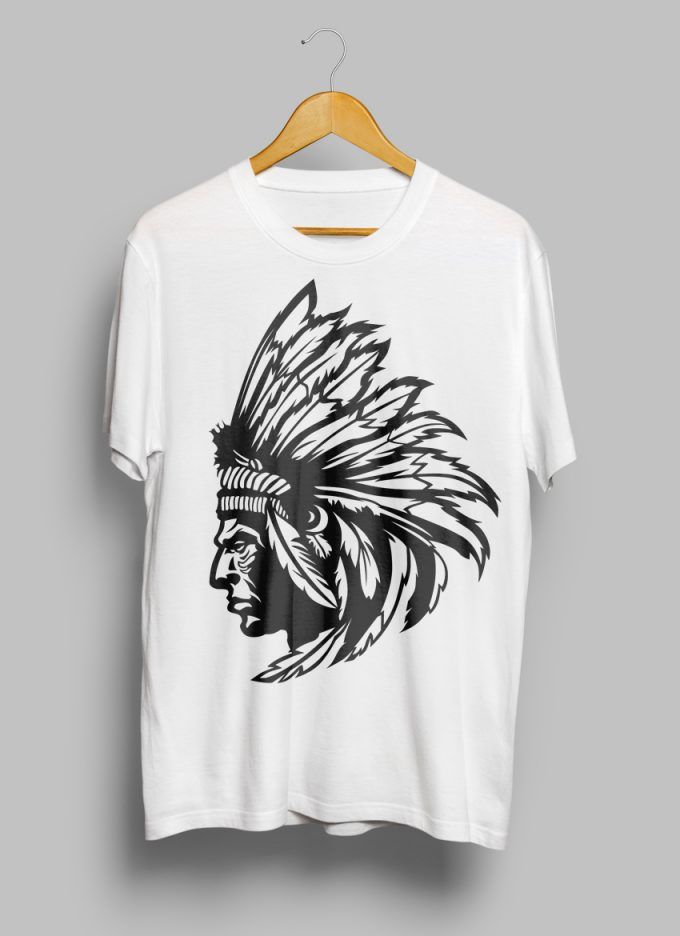t-shirt with american indian scetch